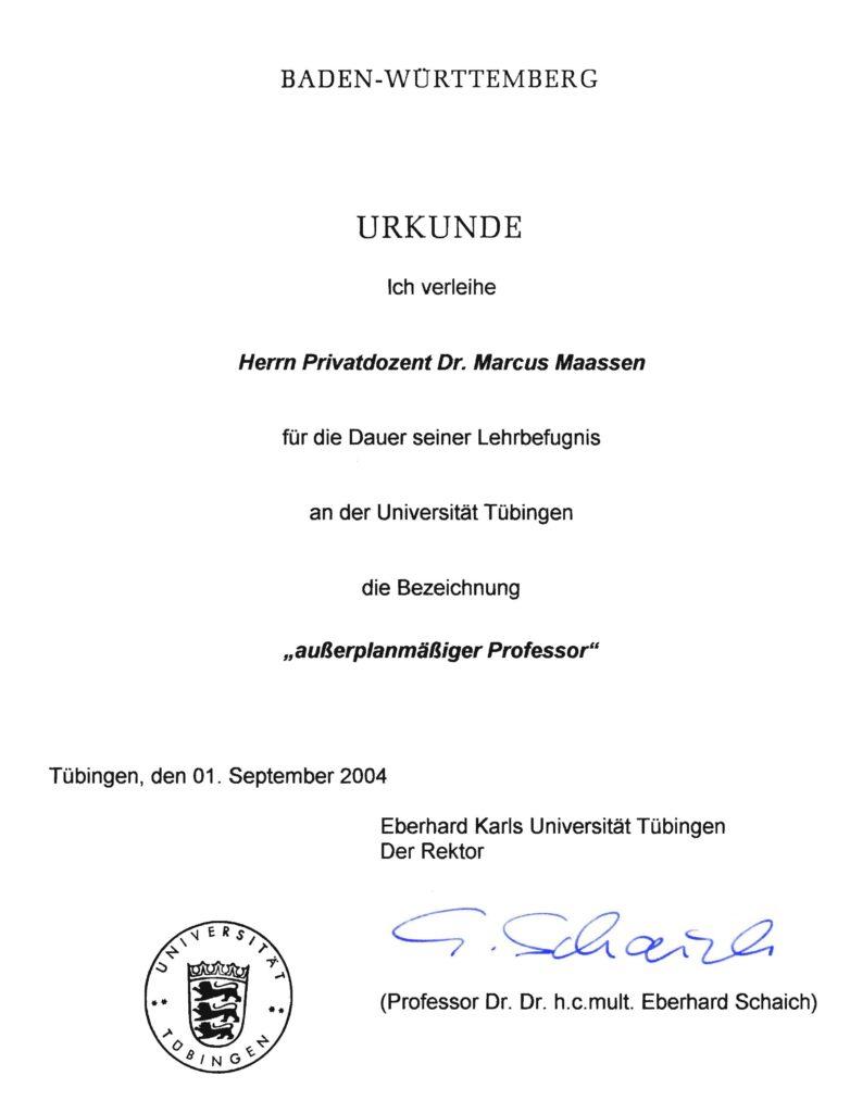 "Ernennung zum ""ausserplanmässigen Professor"" an der Universität Tübingen (D)"